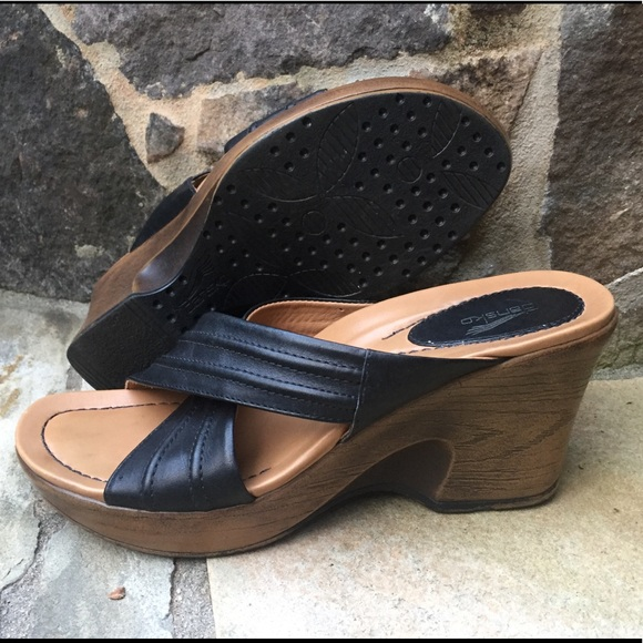1907c112d Dansko Shoes - Dansko wedge black platform sandals shoes-38-7.5-8